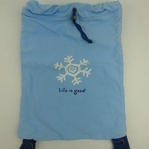 Life is Good backpack light blue drawsrings